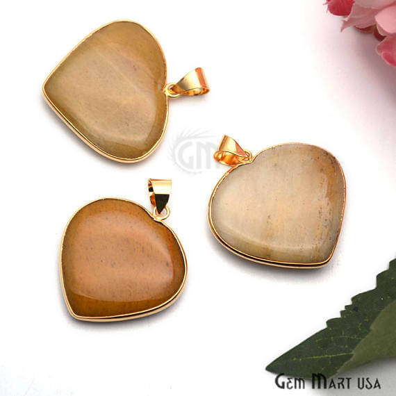 Aventurine Heart Shape 38x35mm Gold Plated Gemstone Love Pendant