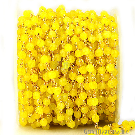 Yellow Jade Beads Chain, Gold Plated wire wrapped Rosary Chain, Jewelry Making Supplies (GPYJ-30017)