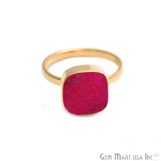 Hot Pink Cushion Druzy Gold Plated Ring, Adjustable Fashion Jewelry Ring (GPZP-12013)
