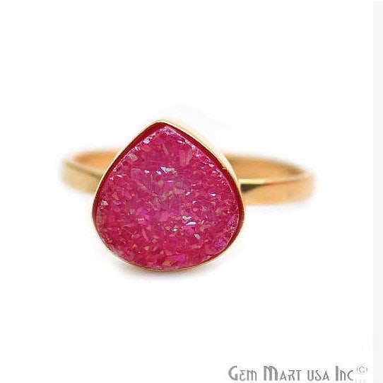 Hot Pink Heart Druzy Gold Plated Ring, Adjustable Fashion Jewelry Ring (GPZP-12014)