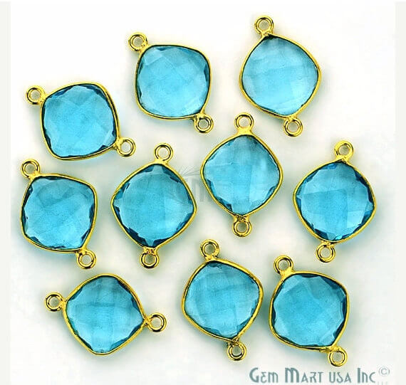 Blue Topaz Bezel Connector Cushion Shape 24K Gold Plated Double Bail Connector (HB-11502)