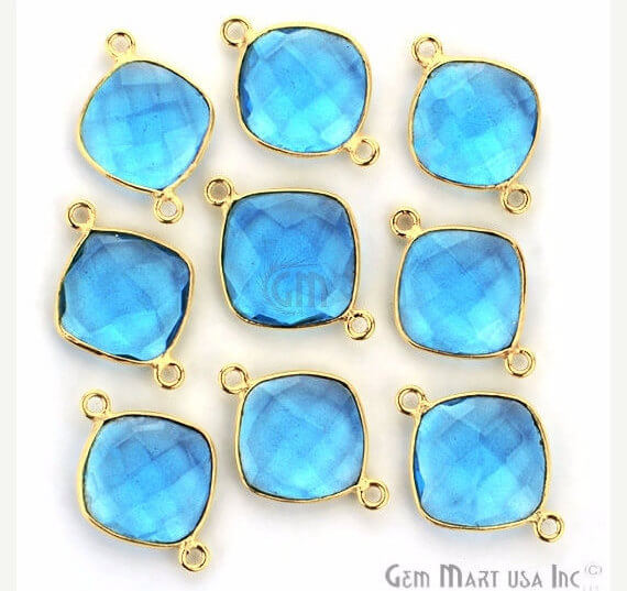 Blue Topaz Bezel Connector Cushion Shape 24K Gold Plated Double Bail Connector (HB-11503)
