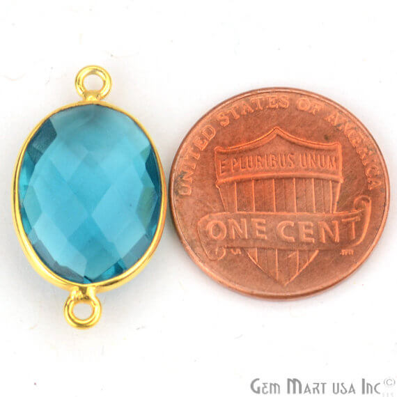 Blue Topaz Bezel Connector Oval Shape 24K Gold Plated Double Bail Connector (HB-11516)