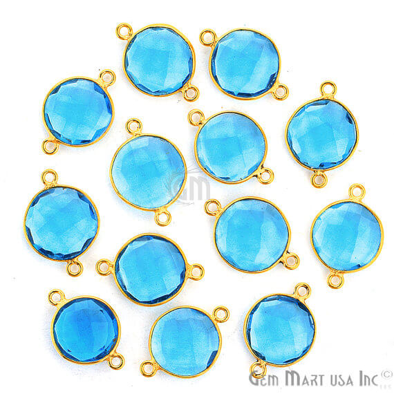 Blue Topaz Bezel Connector Round Shape 24K Gold Plated Double Bail Connector (HB-11523)