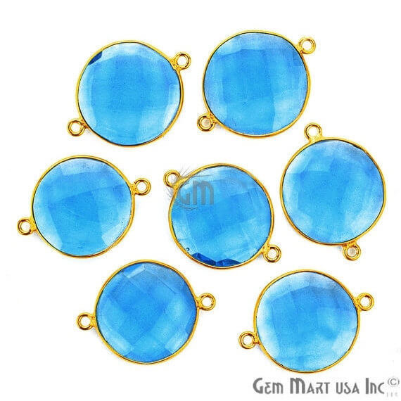 Blue Topaz Bezel Connector Round Shape 24K Gold Plated Double Bail Connector (HB-11525)