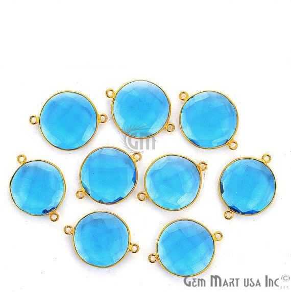 Blue Topaz Bezel Connector Round Shape 24K Gold Plated Double Bail Connector (HB-11526)