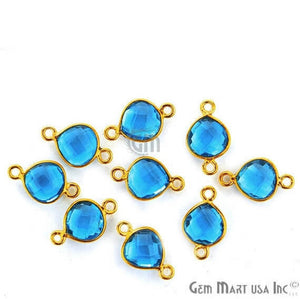 Blue Topaz Bezel Connector Heart Shape 24K Gold Plated Double Bail Connector (HB-11534)