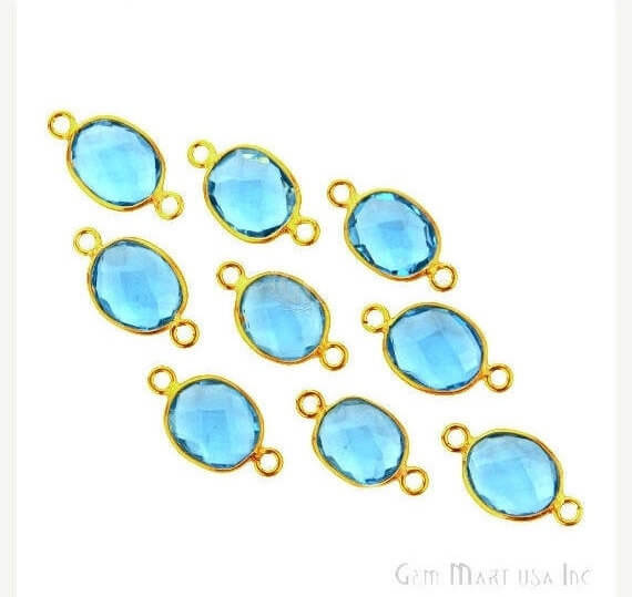 Blue Topaz Bezel Connector Oval Shape 24K Gold Plated Double Bail Connector (HB-11536)
