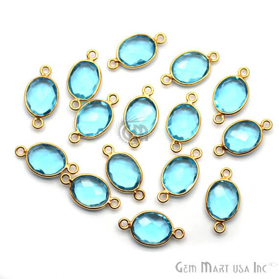 Blue Topaz Bezel Connector Oval Shape 24K Gold Plated Double Bail Connector (HB-11542)