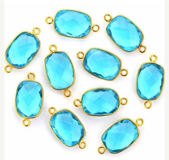 Blue Topaz Bezel Connector Octagon Shape 24K Gold Plated Double Bail Connector (HB-11546)