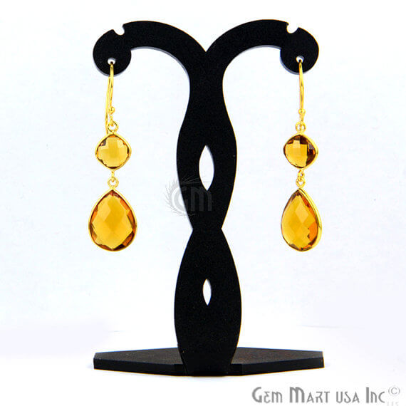 Citrine 13x50mm Gold Plated Gemstone Dangle Earrings