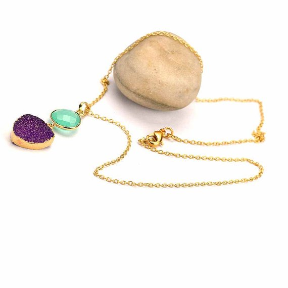 Sky Blue Chalcedony with Purple Druzy Gold Plated Necklace Chain Pendant