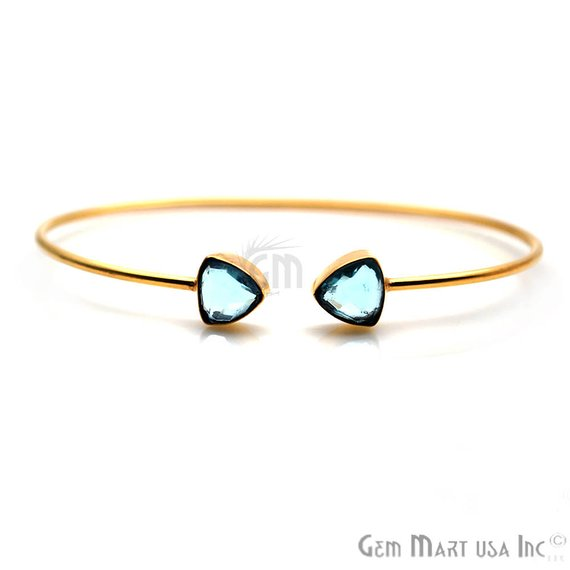 Trillion Shape 8mm Gemstone Adjustable Bangle Bracelets (Pick your Gemstone) (19042-2)