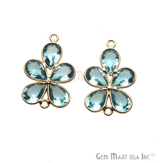 DIY Flower Shape Double Bail Gold Chandelier Finding Component 1pc (Pick Your Gemstone)