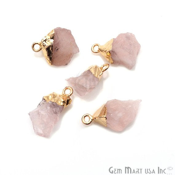 Rough Rose Quartz Organic Shape 17x13mm Gold Edged Bracelets Charm Connectors