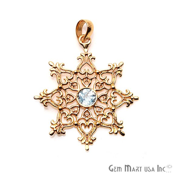 Snowflake Shape 44x38mm Gemstone Dangle Art Deco Pendant (50118) (Pick Your Gemstone, Plating)