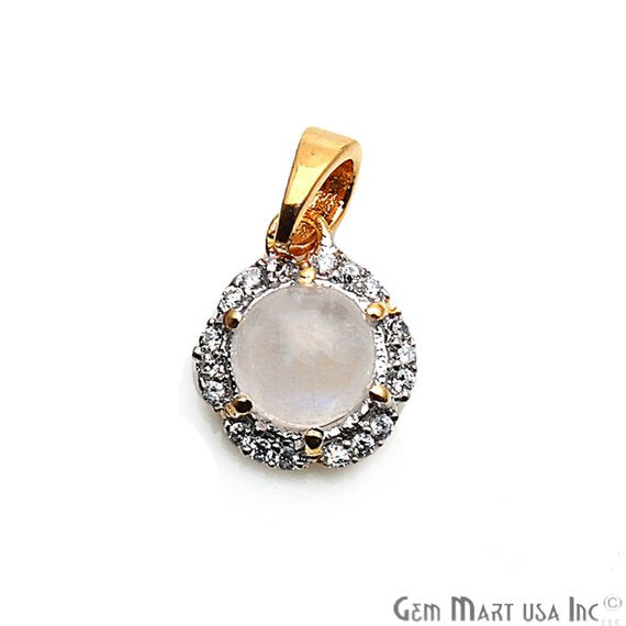 DIY Round Shape Rainbow Moonstone 13x10mm Cubic Zircon Gemstone Gold Plated Dangle Pendant