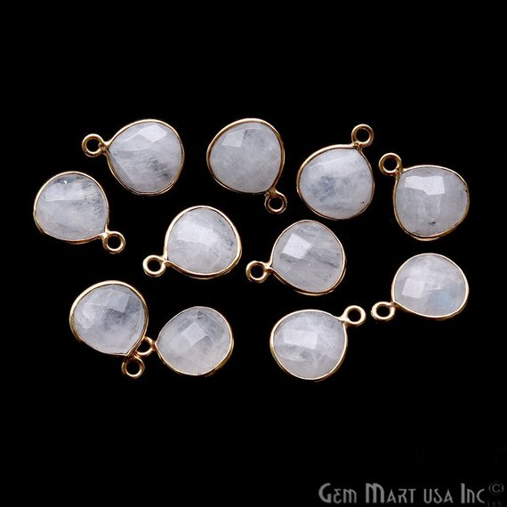 Heart Shape 10mm Rainbow Moonstone Gold Plated Single Point Bail Connector