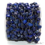 Lapis Cube Chain 6-7mm Beads Black Plated Wire Wrapped Box Beads Rosary Chain GemMartUSA (BPLP-30008)