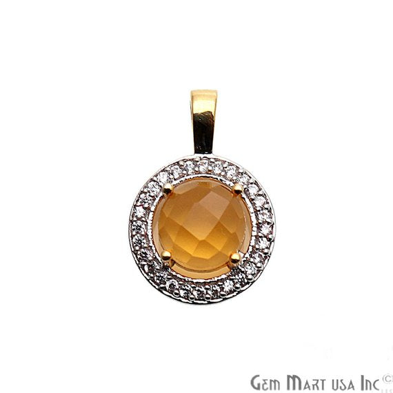 Round Shape 20x13mm Cubic Zircon Gemstone Dangle Pendant (50120) (Pick Your Gemstone)