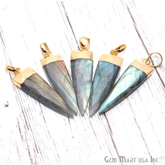 DIY Labradorite 46x21mm Gold Plated Triangle Shape Gemstone Bracelet Charms Necklace Pendant