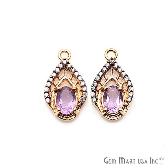 DIY Amethyst Cubic Zircon Pave Gemstone 18x11mm Earring Connector (Pick Your Metal)