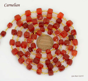 Carnelian Cube 5-6mm Gold Plated Wire Wrapped Beads Rosary Chain