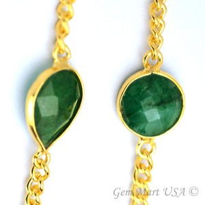 Emerald 10-15mm Gold Plated Link Bezel Connector Chain