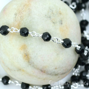 Black Spinel Silver Plated Wire Wrapped Beads Rosary Chain