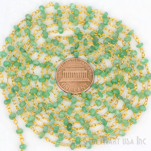 Emerald 3-3.5mm Gold Plated Wire Wrapped Beads Rosary Chain