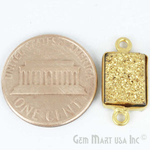 Golden Druzy Bugget Shape 8x10mm Double Bail Bezel Connector