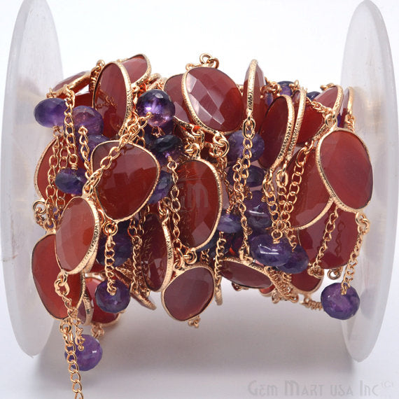 Carnelian with Amethyst 10-15mm Connector Chain, Gold Plated Bezel Connector Link Rosary Chain, Jewelry Making Supplies (GPNA-20027)