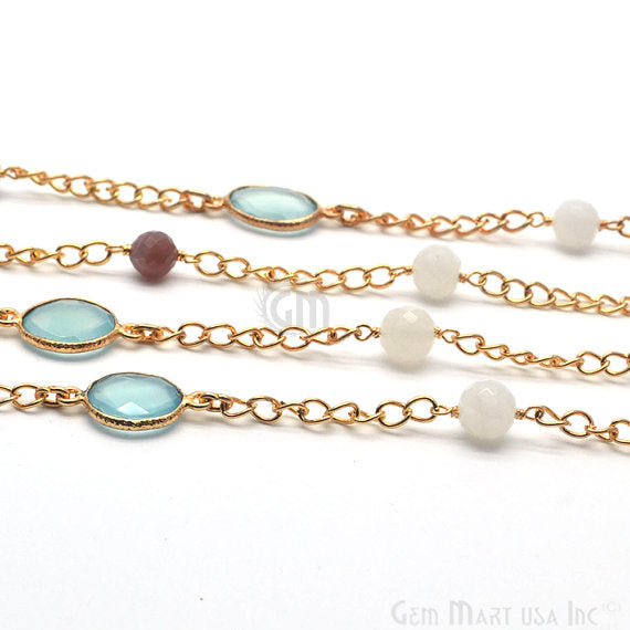 Aqua chalcedony with multi stone 10mm Connector Chain, Gold Plated Bezel Connector Link Rosary Chain, Jewelry Making Supplies (GPQM-20029)