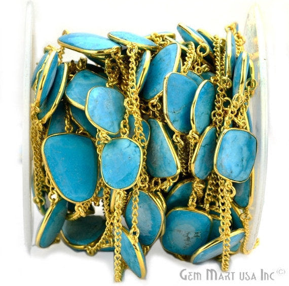 Turquoise 15mm Connector Chain, Gold Plated Bezel Connector Link Rosary Chain, Jewelry Making Supplies (GPTQ-20003)