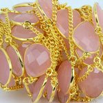 Rose Chalcedony 15mm Connector Chain, Gold Plated Bezel Connector Link Rosary Chain, Jewelry Making Supplies (GPRC-20003)