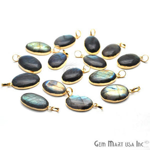 Labradorite 28x17mm Gold Electroplated Gemstone Connector Pendant