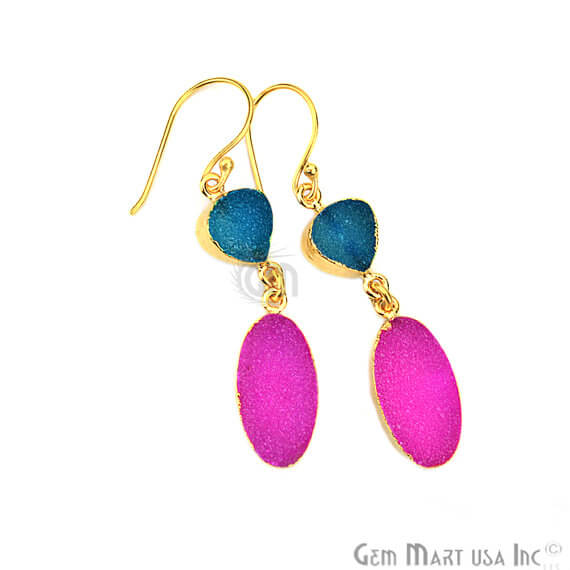 Light Blue & Pink Druzy 10x52mm Gold Electroplated Gemstone Dangle Earring
