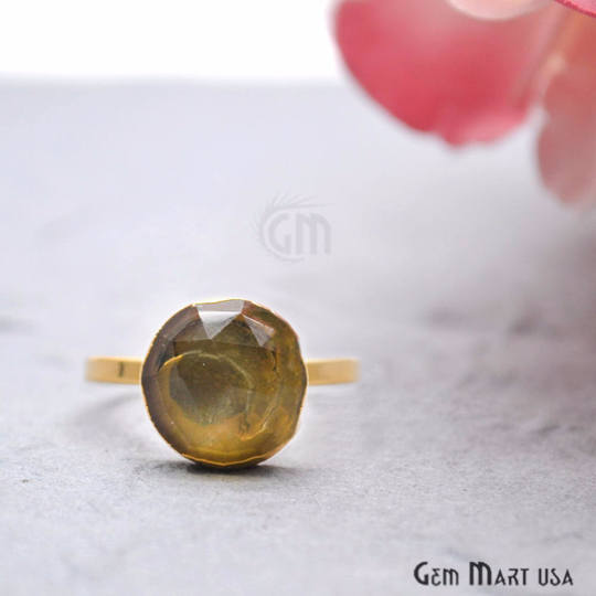 Lemon Topaz 12mm Round Gold Plated Adjustable Ring
