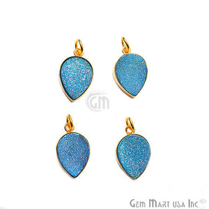 Light Blue Druzy Pears Shape 21x13mm Gold Plated Gemstone Necklace Pendant