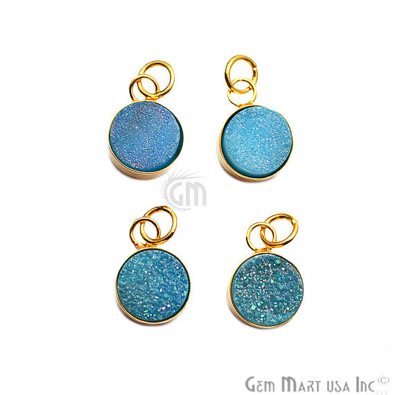 Light Blue Druzy Round Shape 16x11mm Gold Plated Gemstone Necklace Pendant