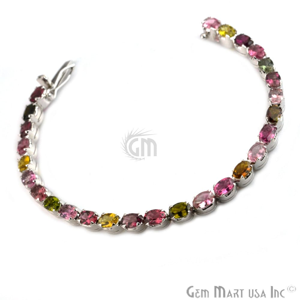 Multi Color Sterling Silver Tennis Bracelet 7.5Inch Length (MCBR-16006)