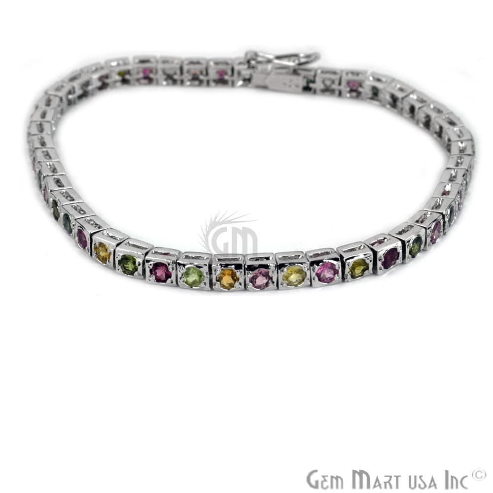 Multi Color Sterling Silver Tennis Bracelet 7.5Inch Length (MCBR-16012)