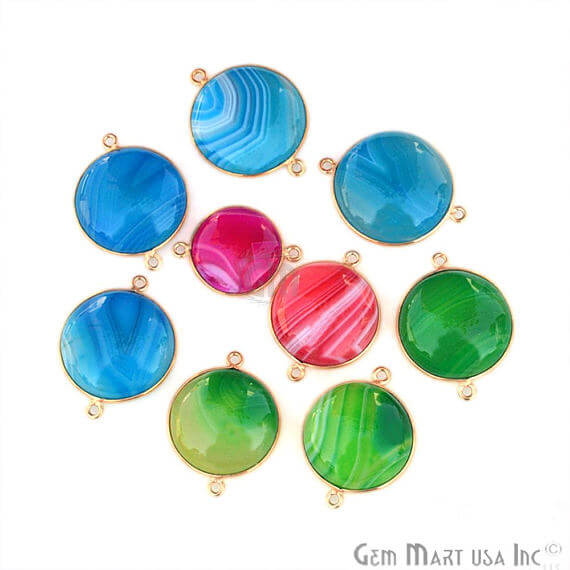 9pc Mix Gemstone Lot 20mm Round Shape Gold Plated Single Bail Bezel Link Connector