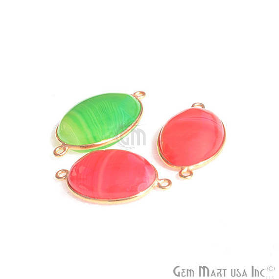 3pc Mix Gemstone Lot Oval Shape 20x15mm Gold Plated Double Bail Bezel Link Connector