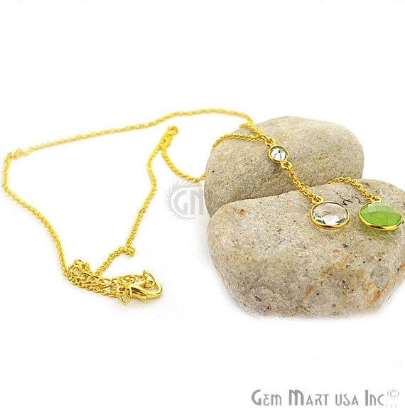 2pcs Green Chalcedony & Crystal Necklace, Faceted Round Shape Pendant 24k Gold Plated 18Inch Chain
