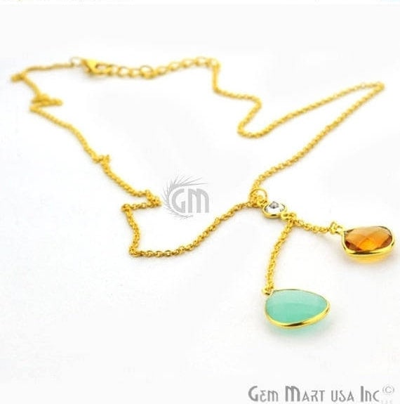 2pcs Aqua Chalcedony & Citrine Faceted Cushion and Pears Pendant with 24k Gold Plated 18Inch Chain (NC-16152)