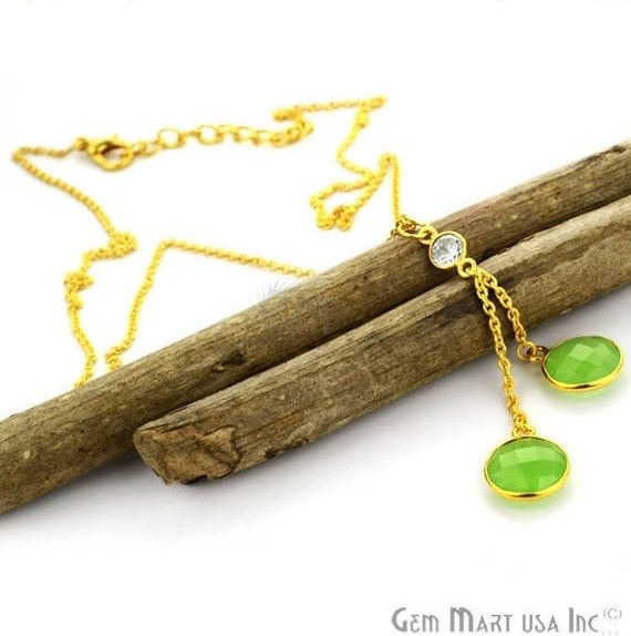 2pcs Green Chalcedony Necklace, Faceted Round Shape Pendant with 24k Gold Plated 18Inch Chain