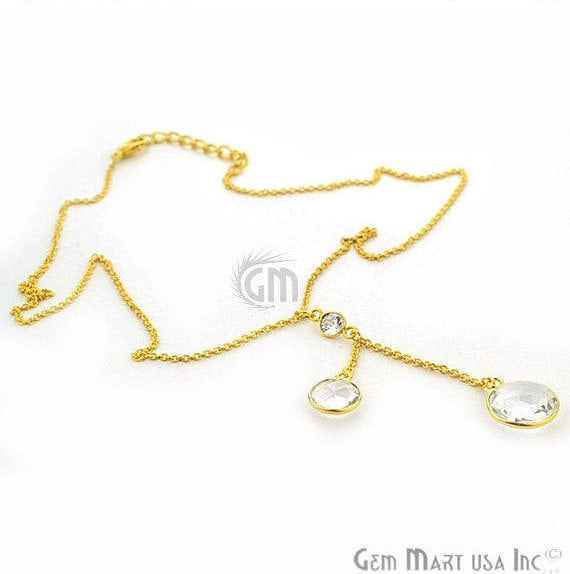 2pcs Crystal Gemstone Necklace, Faceted Round Shape Pendant with 24k Gold Plated 18Inch Chain (NC-16190)