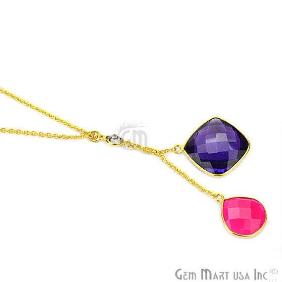 Amethyst & Pink Chalcedony Gemstone 24k Gold Plated Cascade Necklace