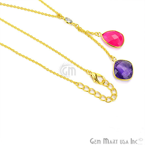 Amethyst with Pink Chalcedony Gemstone 24k Gold Plated Cascade Necklace (NC-16324)